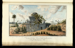 'View from the S.E. of a Ruinous Temple buried in the Sand North of the Mavellapooram Rock. Copied by J.S. May. 13th April 1819 from the original by J. Newman 30th July 1816.